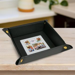 Create a personalized leather valet tray using your own photos and text