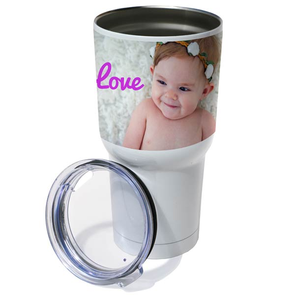 Personalized yeti style insulated tumbler with lid, add your own photos and text