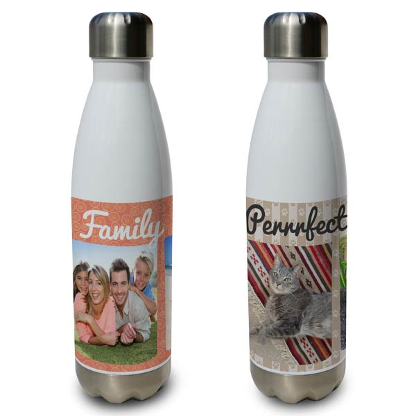 Swell shaped water bottles hold 20oz of fluid and you can personalize your own