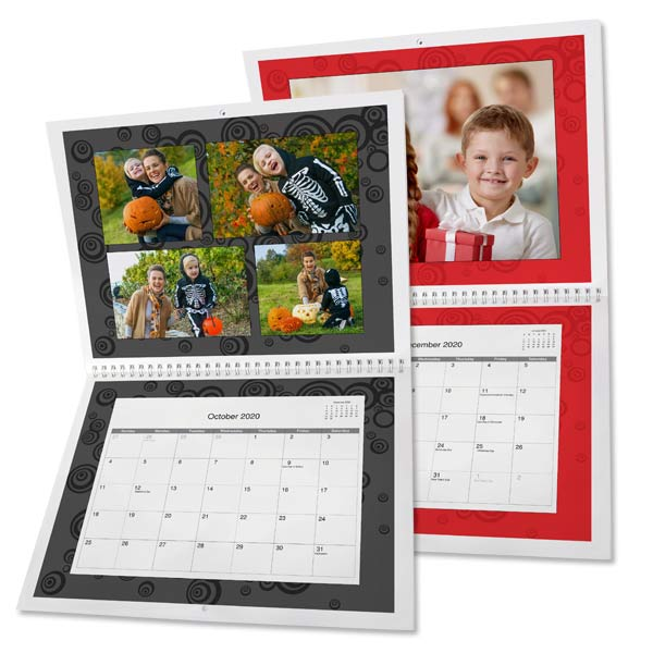 Create 12 month wall calendar personalized with photos and text, makes the perfect gift!