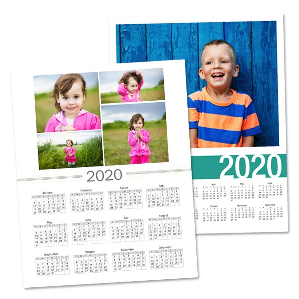 Year at a glance single page calendar