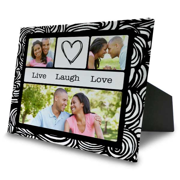 Create a personalized photo collage canvas with easel back to display in your home or office.
