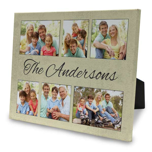 Create a photo collage easel back canvas for your home wall or shelf.