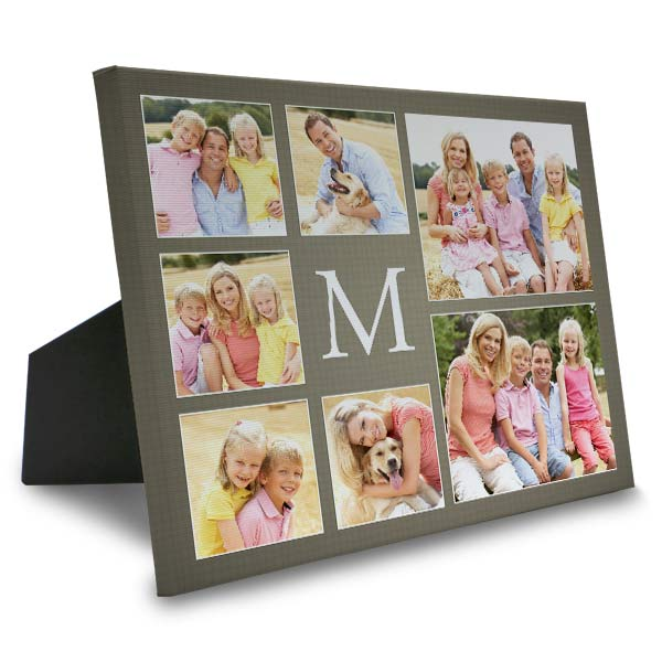 Create a beautiful collage canvas with easel back for your office or home.