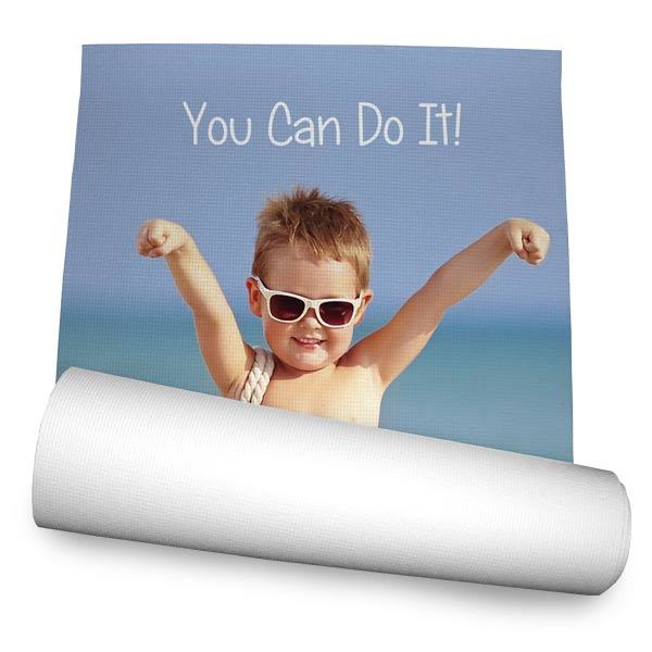 Design your own personalized yoga mat to take to the gym using photos and text