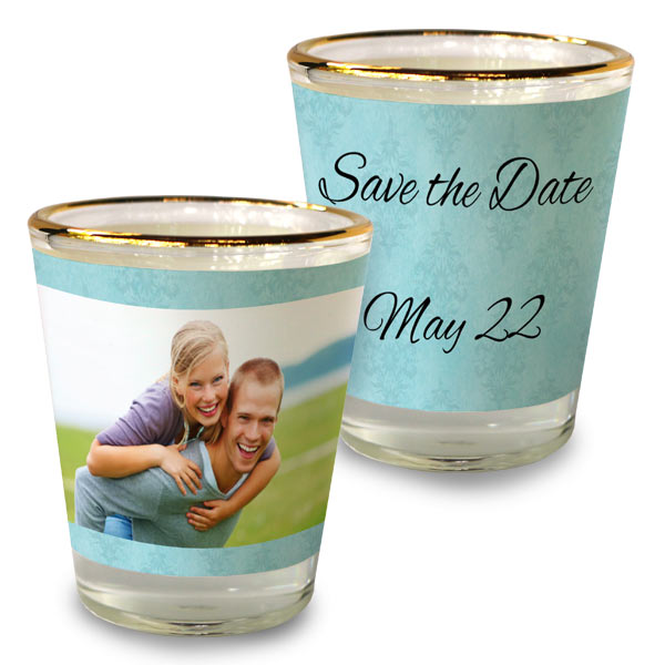 Create your own party favors for wedding parties and showers with RitzPix Shot Glasses