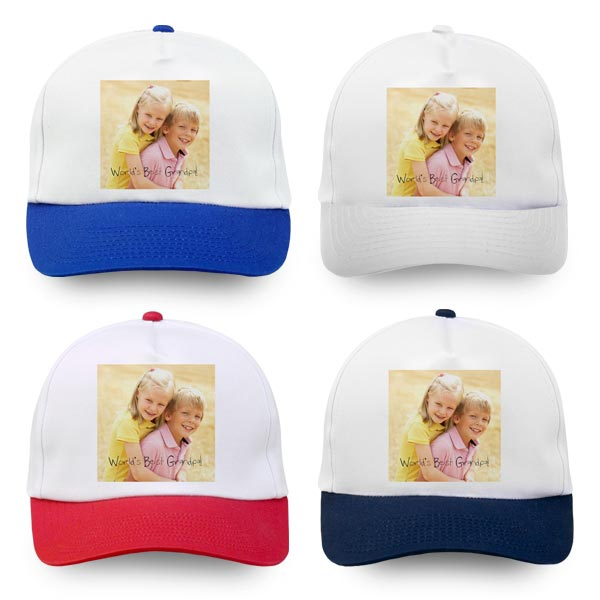 Pick your own color and create a custom baseball cap with photos and text