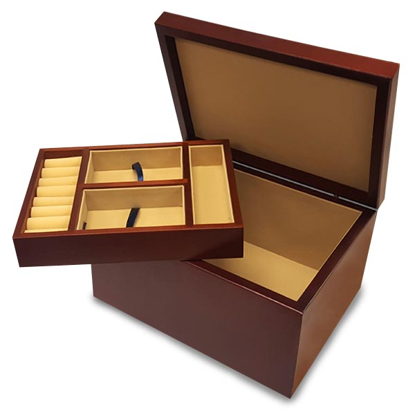 Each custom jewelry box features a removable tray for storage