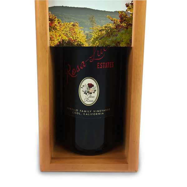 Store your bottle out of site in your counter with a personalized slide up front panel wine box