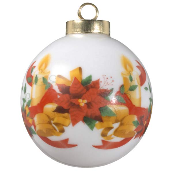 Classic porcelain ball ornament with beautiful holiday art featuring candles and bells and your photo on the opposite side
