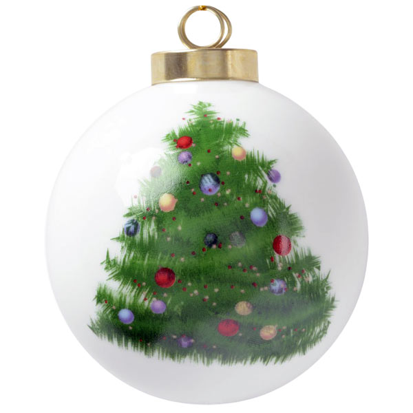 Create a holiday ball ornament with your photo added and Christmas Tree painted art