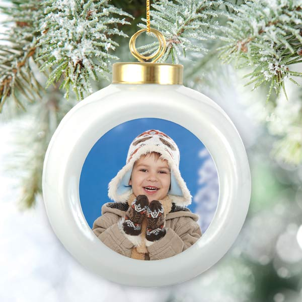 Photo personalized holiday ball ornaments make a great annual gift