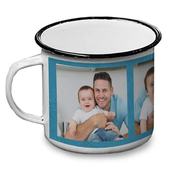 Enamel camping mug personalized with photos makes a great gift for dad or any adventurer