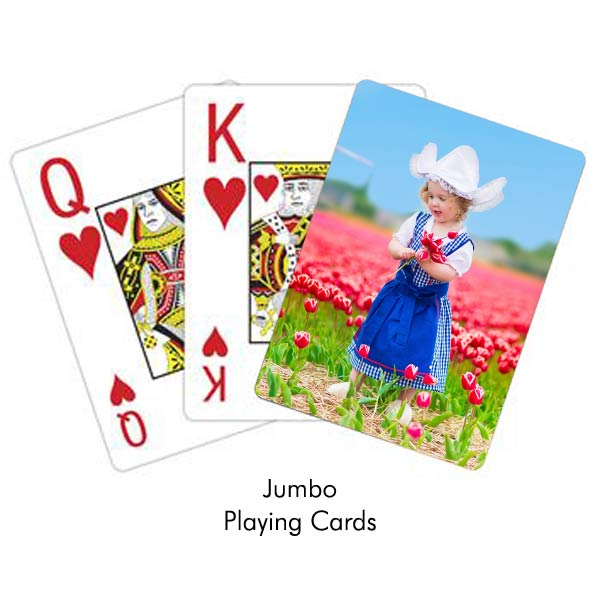 Create custom photo playing cards with jumbo print, easy to read