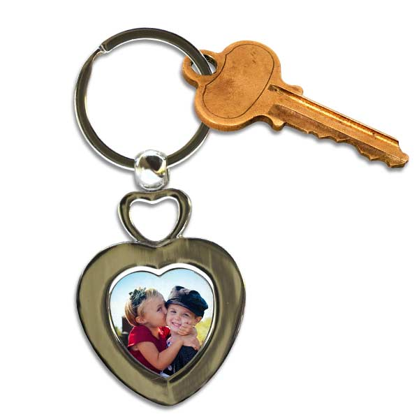 Add your picture to a double heart metal key ring and keep your keys together