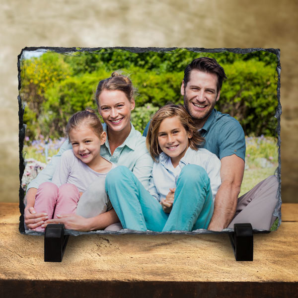 perfect for a shelf or mantel, a photo printed on stone with picture slates