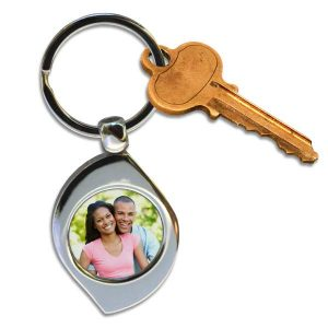 Teardrop or swirl metal photo keychain for your keys make a great gift