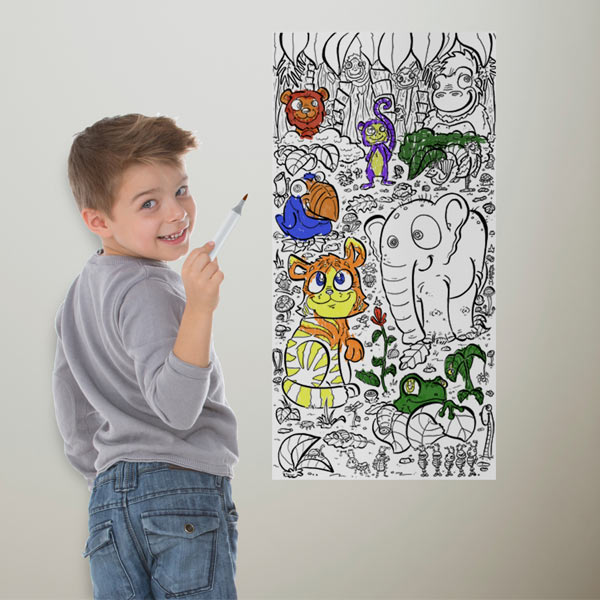 Stay busy inside with coloring wallpaper, great for kids
