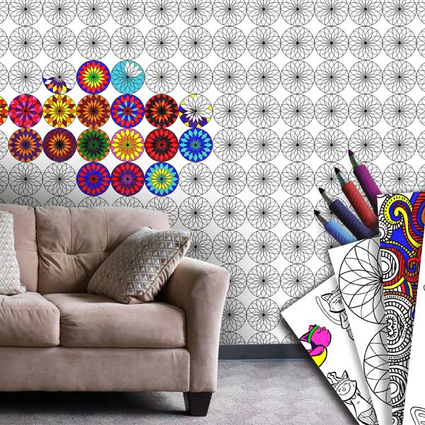 Add color to your space and create your own color pattern with coloring wallpaper