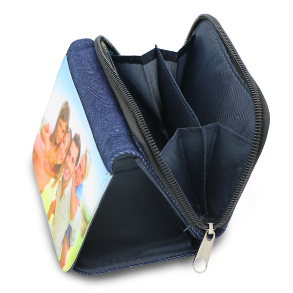 Custom photo wallet made from denim with zippered coin holder