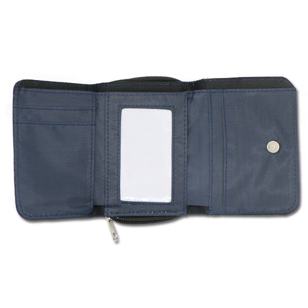 3 Fold open view of photo personalized denim wallet