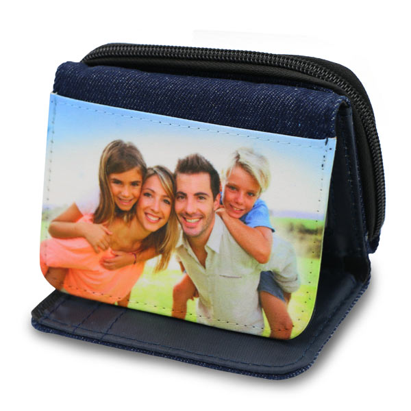 Denim wallet with personalized photo added to the front