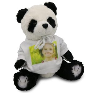 Stuffed panda bear with photo personalized white sweatshirt