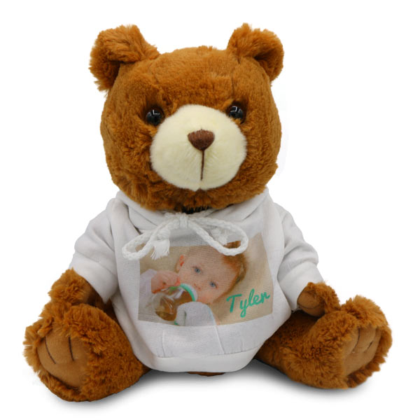 Stuffed teddy bear with photo personalized sweater