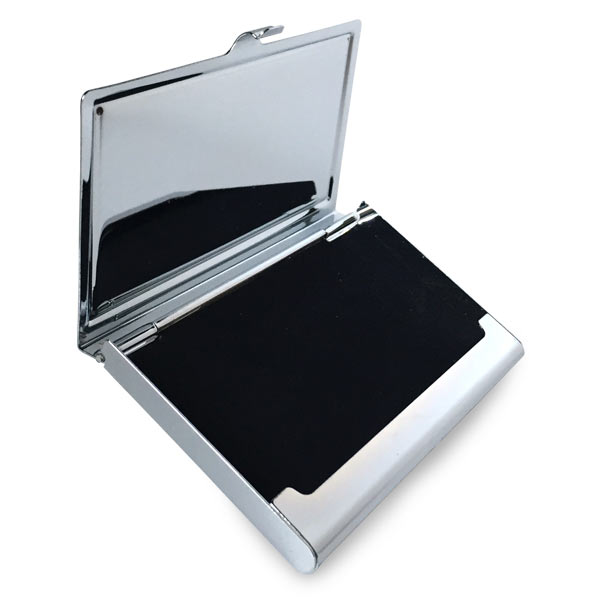 Photo business card case has velvet like interior to keep your cards safe