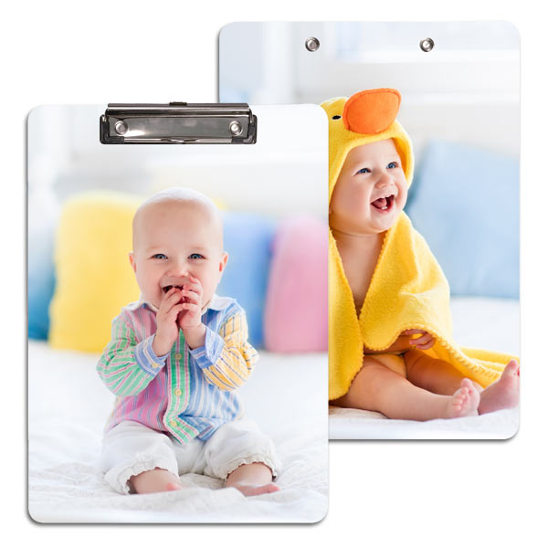 Add a smile to your face while working with a custom photo clipboard to keep your papers organized