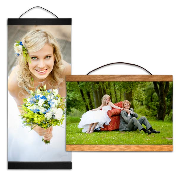 Unique hanging canvas with wood planks are available in a range of sizes for your photos