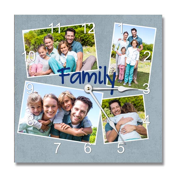 Personalized photo collage and designer wall clock with black or white hands and your own photos
