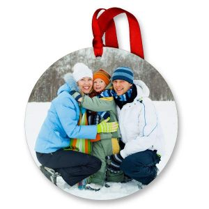 Round photo ornaments with a glossy finish will look amazing on your Christmas tree