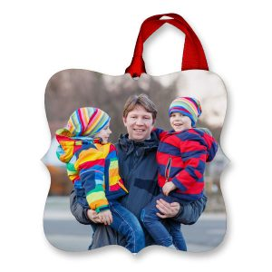 Bright and colorful photo ornaments with your own picture are great for the holiday