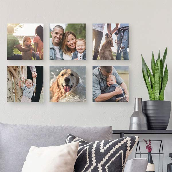 Floating canvas squares make great photo displays on your walls
