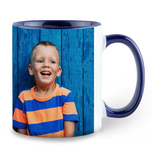 Customize your own photo mug and choose a color to accent your mug