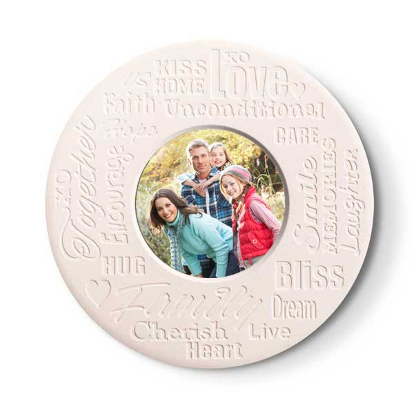 Live laugh love family inspirational bliss circle stone photo coasters