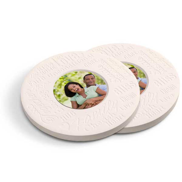 Inspirational family stone coasters with your photo inset in the middle are great for any home