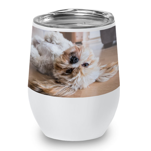 Add your favorite pet photo to a wine cup