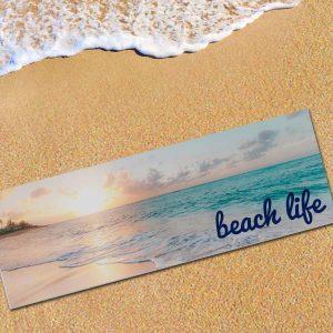 Brighten your beach area with a photo personalized beach mat perfect for you and your style