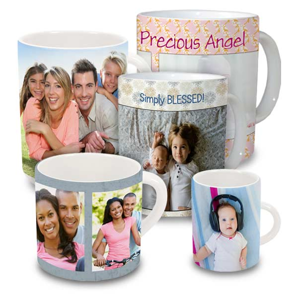 Jumbo, large and mini photo mugs are available for personalization on RitzPix