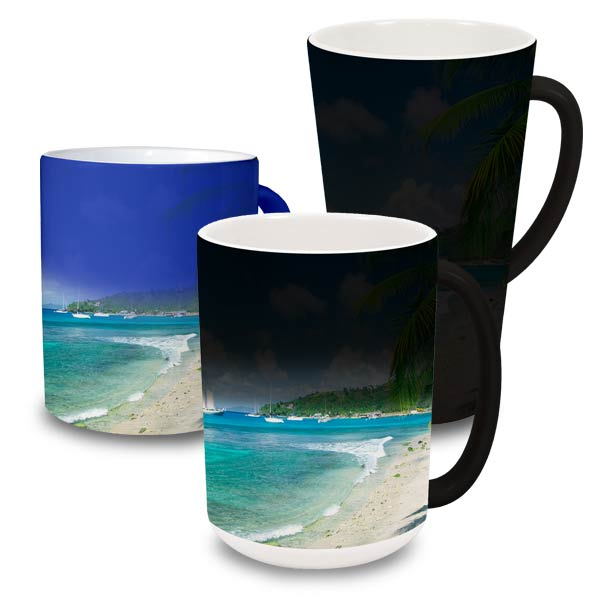 Your personalized photo mug magically reveals your photo when hot fluid is added