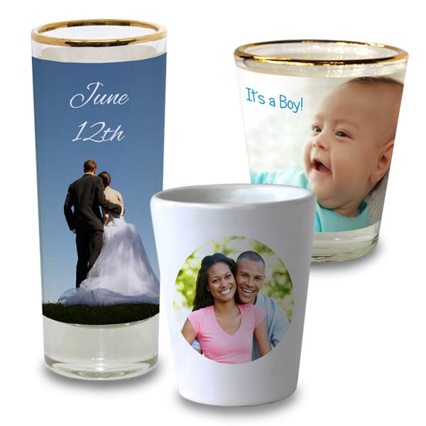 Commemorate your own shot glass for parties and gifts and add your own photo