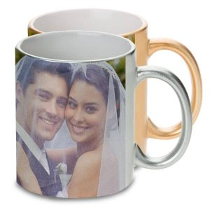 Print your pictures on a gold or silver finish custom photo mug an elegant way to share
