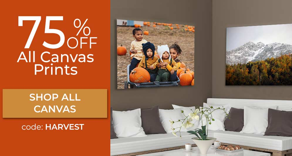 Custom printed photos on canvas currently on sale